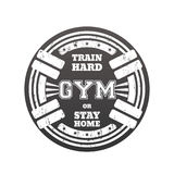 Round gym emblem, logo, badge with barbells Royalty Free Stock Image
