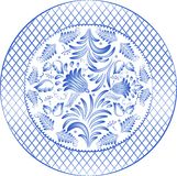 Round gzhel. Round blue floral pattern in gzhel style. Vector illustrations royalty free illustration