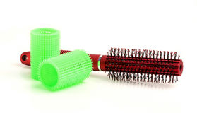 Round hair brush and curler. Stock Photos