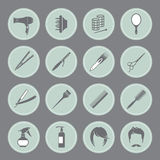 Round hairdressing equipment icons Royalty Free Stock Photography
