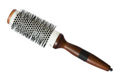 Round hairstyling brush isolated on white. Salon hair brush used for curling and straightening hair  isolated on white Stock Image