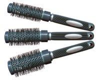Round hairstyling brush. On white background Royalty Free Stock Photos