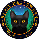 Round Halloween design with black cat. Black cat looking out for the black branches on the starry night sky backdrop Stock Images