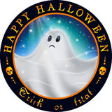 Round Halloween design with ghost. White ghost flying in the starry sky at night in the glow of moonlight Royalty Free Stock Photo