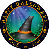Round Halloween design with hat Royalty Free Stock Image