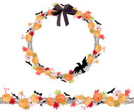 Round Halloween wreath with pumkins isolated on white. Endless horizontal pattern brush. Stock Photos