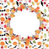 Round Halloween wreath with pumpkins Royalty Free Stock Images