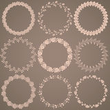 Round hand drawn floral pattern wreaths Stock Images