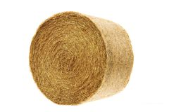 Round hay bale isolated on a white Stock Images