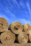 Round Hay Bales against Beautiful Sky Stock Images