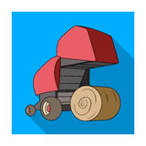 Round hay bales. Modern agricultural machinery for  of hay and rolling circles.Agricultural Machinery single icon in fla Royalty Free Stock Photos