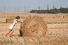 Round haystack is moving. Girl staying near the roud haystack in the field Royalty Free Stock Image