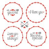 Round Heart Frame. I Love You. Romantic Labels Badges. Hand Drawn Decorative Element. Love Phrase. Heart. Lettering Vector Illustration