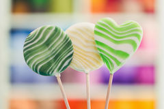 Round and heart shaped large lollipops. royalty free stock photos