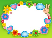 Round hippie frame with flowers Stock Photos