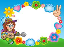 Round hippie frame with guitarist. Color illustration Royalty Free Stock Image