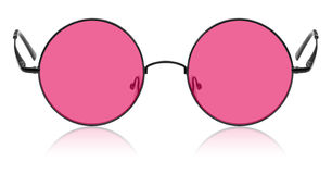 Round hippy glasses with pink lens. Isolated Royalty Free Stock Photo
