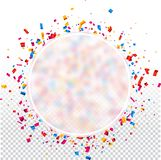 Round holiday background with colorful confetti. White round transparent New Year background with colorful confetti. Vector illustration Royalty Free Stock Image