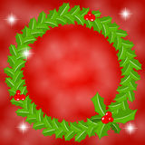 Round holly wreath frame Royalty Free Stock Images