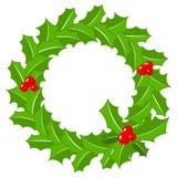 Round holly wreath frame on white Royalty Free Stock Photo