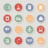 Round home appliances icons. Vector illustration Royalty Free Stock Photo
