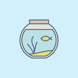 Round home aquarium icon. Vector colorful fish bowl symbol or design element on blue background Royalty Free Stock Photo