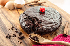 Round homemade chocolate cake Stock Images
