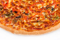 Round hot pizza close up top view Stock Images