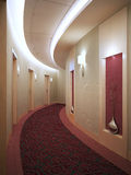 Round hotel corridor in art deco style Royalty Free Stock Images