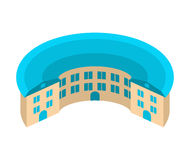 Round house. circular yard. Architecture emblem. Unique building Royalty Free Stock Image