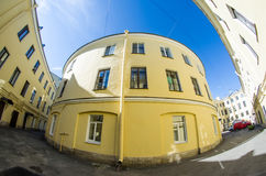 Round house in courtyards ordinary St. Petersburg Stock Images