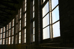 Train round house windows. Windows in historic train round house building stock photography