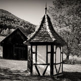 ROUND HUT WITH TIMBER FRAME-WORK Royalty Free Stock Photography