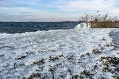 Bizarre iceforms due to a continuous spray of icy water on the downwind side of a lake. Round icicles at the shore of a lake during a cold spell in The royalty free stock photography