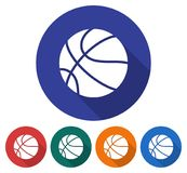 Round icon of basketball. Round icon of  basketball. Flat style illustration with long shadow in five variants background color Royalty Free Stock Photo