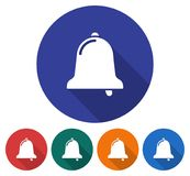 Round icon of bell. Flat style illustration with long shadow in five variants background color vector illustration