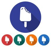 Round icon of bitten ice cream. Round icon of  bitten ice cream. Flat style illustration with long shadow in five variants background color Stock Images