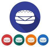 Round icon of cheeseburger. Round icon of  cheeseburger. Flat style illustration with long shadow in five variants background color Stock Photos
