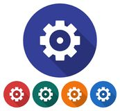 Round icon of cogwheel. Flat style illustration with long shadows in five variants background color Stock Image