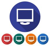 Round icon of computer LCD monitor. Flat style illustration with long shadow in five variants background color        icon Stock Photos