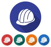 Round icon of construction safety helmet Royalty Free Stock Photography