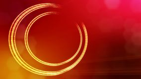Round icon with copy space. Background made of glow particles as vitrtual hologram. 3D seamless animation with depth of. Field, bokeh and copy space stock footage