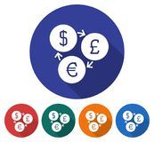 Round icon of currency exchange Stock Photography