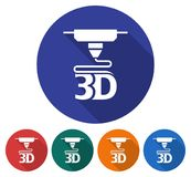 Round icon of  3d printer. Flat style illustration with long shadow in five variants background color Stock Photography