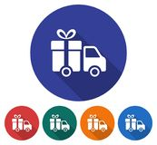 Round icon of delivery car. Flat style illustration with long shadow in five variants background color Stock Image