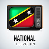 Round icon of Federation of Saint Kitts and Nevis. Vintage TV and Flag of Federation of Saint Kitts and Nevis as Symbol National Television. Tele Receiver with Royalty Free Stock Image
