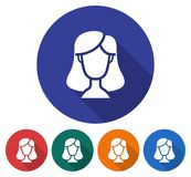 Round icon of female user picture Royalty Free Stock Images