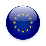 Round icon with flag of the European Union Stock Photos