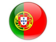 Round icon with flag of portugal. Isolated on white stock illustration