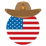Round icon with the flag of the USA and cowboy sheriff hat with a star Stock Photo